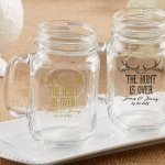 Personalized 'The Hunt is Over' Mason Jar Favors