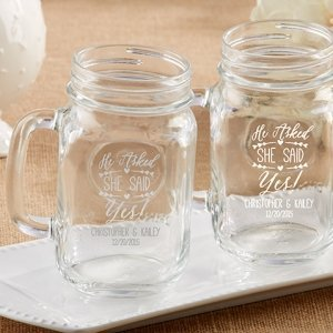 Personalized 'He Asked She Said Yes' Mason Jar Mug Favors image