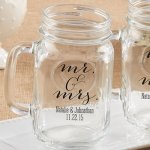Personalized Mr. & Mrs. Mason Jar Mug Favor