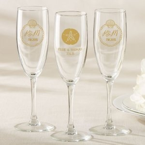 Personalized Beach Tides Champagne Flute Favor image
