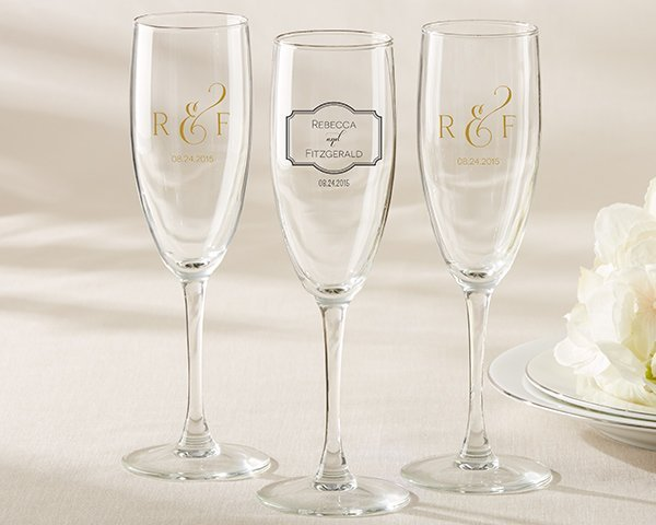 personalized classic design champagne flute wedding favors. Black Bedroom Furniture Sets. Home Design Ideas