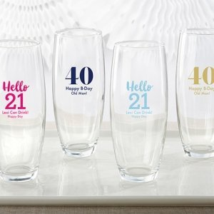 Personalized Milestone Birthday Stemless Champagne Glass image