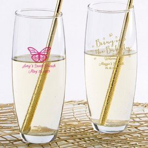Personalized Bubbly Brunch Stemless Champagne Glass image