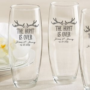 Personalized 'The Hunt is Over' Stemless Champagne Glasses image