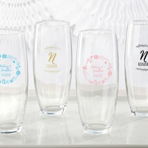 Personalized Ethereal 9 oz Stemless Champagne Glass Favors image