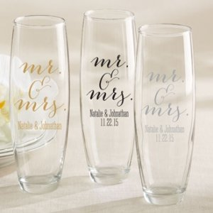 Personalized Mr. & Mrs. Stemless Champagne Glass Favor image
