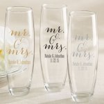 Personalized Mr. & Mrs. Stemless Champagne Glass Favor