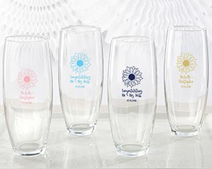 Personalized Sunflower 9 oz Stemless Champagne Glass Favors image