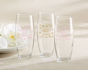 Personalized 9 oz. Stemless Champagne Glass - Sweet Heart image