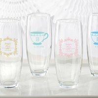 Personalized Tea Time 9 oz Stemless Champagne Glass Favors