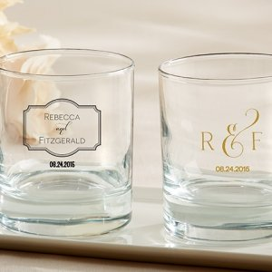 Personalized Classic Theme Rocks Glass Wedding Favors image