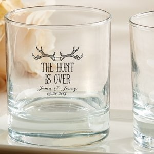 Personalized 'The Hunt is Over' Rocks Glass Favors image