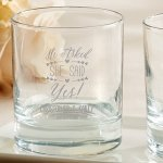 Personalized 'He Asked She Said Yes' Rocks Glasses