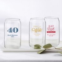 Personalized Birthday Party Can Glass Favors