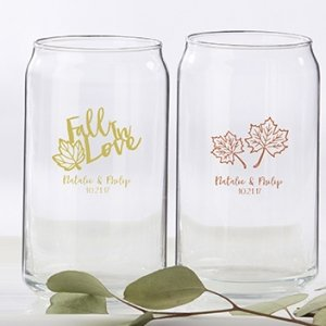 Personalized Fall Design Can Glass Favors image
