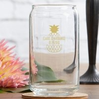 Personalized Tropical Chic 16 oz Can Glass Favors