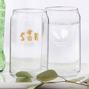 Personalized Pineapples and Palms Can Glass image