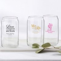 Personalized Wedding Can Glass Favors