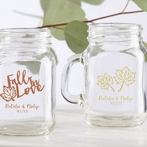 Personalized Fall Design Mini Mason Mug Glass Favors image