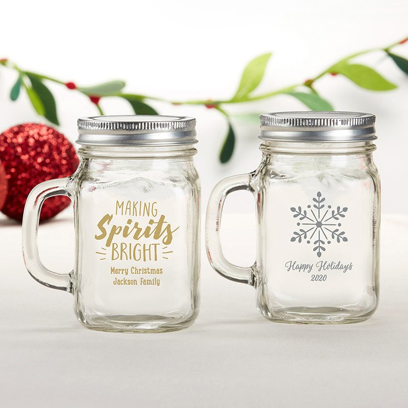 Personalized Holiday 12 oz Mason Jar Mug image