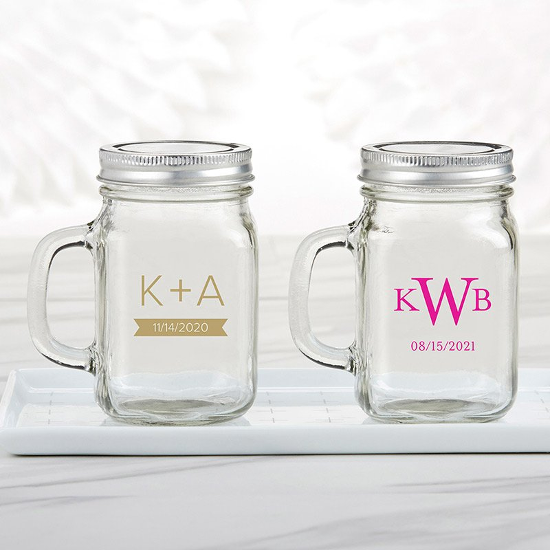 Personalized Monogram 12 oz Mason Jar Mug Favor image