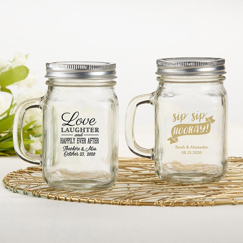 Personalized Wedding 12 oz Mason Jar Mug Favors image