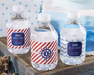 Personalized Water Bottle Labels - Kate's Nautical Birthday image
