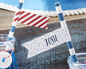 Personalized Party Straw Flags - Kate's Nautical Birthday Co image