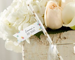 Personalized Baby Party Straw Flags image