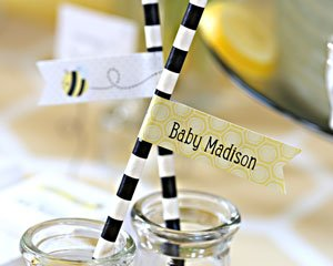 Kate's Sweet as Can Bee Personalized Party Straw Flags image