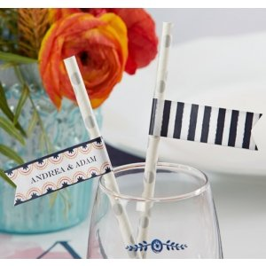 Personalized Botanical Design Party Straw Flags image