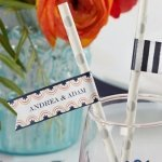 Personalized Botanical Design Party Straw Flags