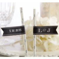 Personalized Chalk Design Party Straw Flags