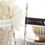 Personalized Mr. & Mrs. Party Straw Flags