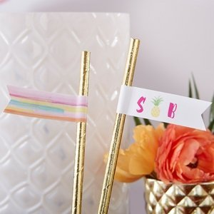 Personalized Pineapples and Palms Party Straw Flags image