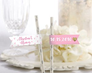 Personalized Party Straw Flags - Sweet Heart image