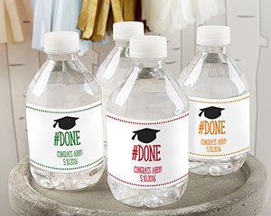 Personalized #Done Graduation Water Bottle Labels image