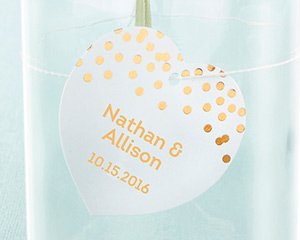 Personalized Heart Foil Tag - Copper (Set of 36) image