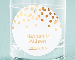 Personalized Circle Foil Tag - Copper (Set of 36) image