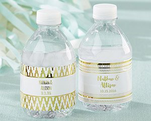 Personalized Water Bottle Labels - Gold Foil image
