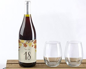 Fall Leaves Wine Label Table Numbers (1-20) image