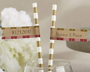 Personalized Party Straw Flags - Fall image