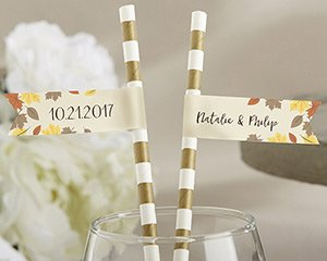 Personalized Party Straw Flags - Fall Leaves image