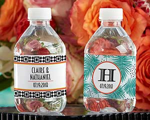 Personalized Water Bottle Labels - Tropical Chic image