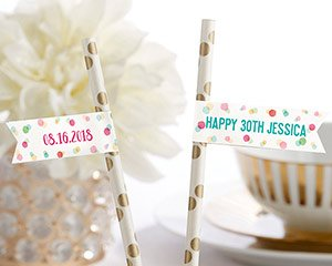 Personalized Party Straw Flags - Party Time image