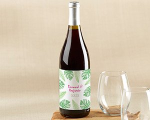Personalized Pineapples & Palms Wine Bottle Labels image