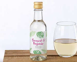Personalized Mini Wine Bottle Labels - Pineapples & Palms image