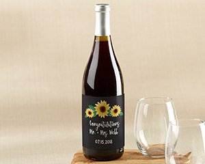Personalized Wine Bottle Labels - Sunflower image