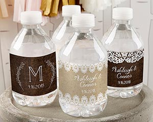 Personalized Water Bottle Labels - Rustic Charm Wedding image