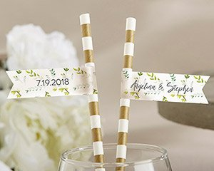 Personalized Party Straw Flags - Botanical Garden image